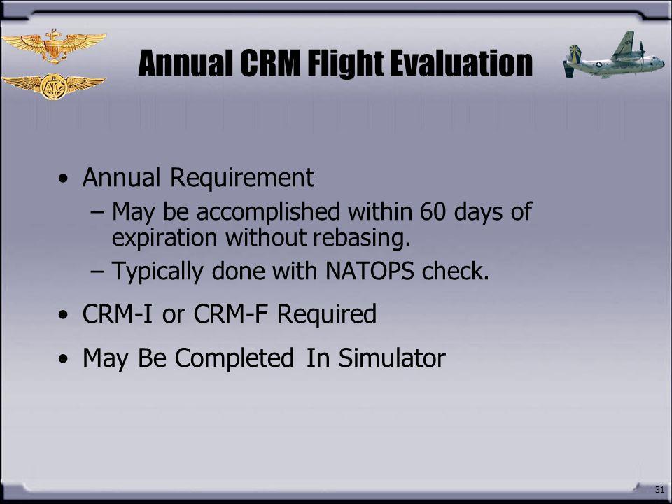 Annual CRM Flight Evaluation