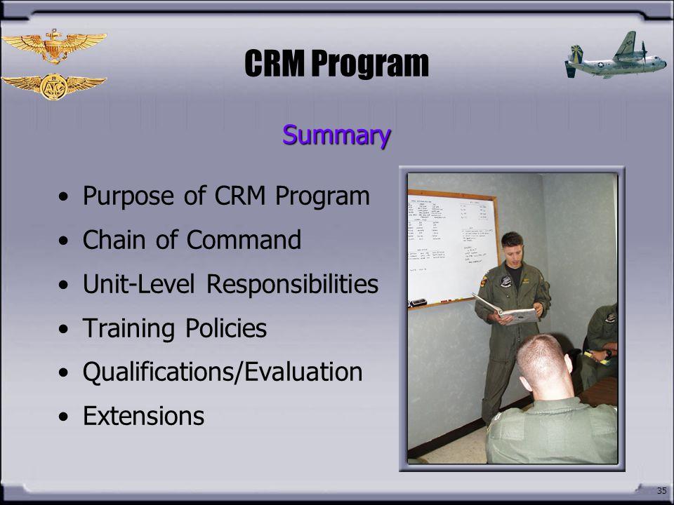 CRM Program Summary Purpose of CRM Program Chain of Command
