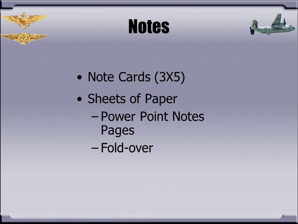Notes Note Cards (3X5) Sheets of Paper Power Point Notes Pages