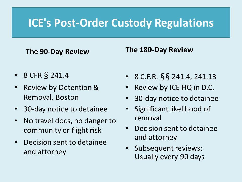 ICE s Post-Order Custody Regulations