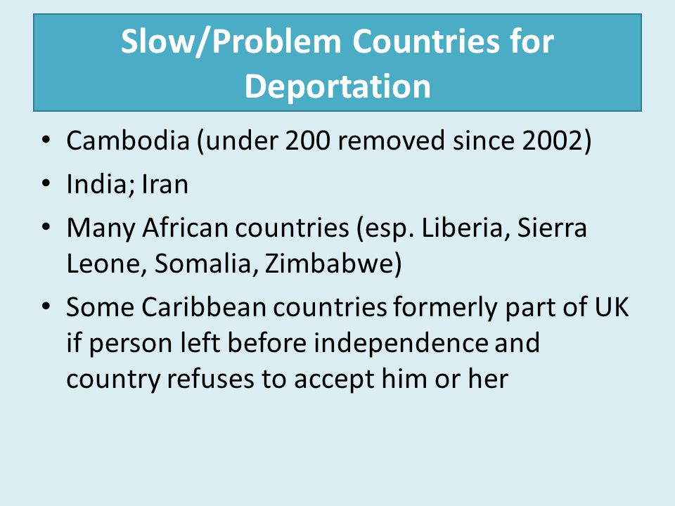 Slow/Problem Countries for Deportation
