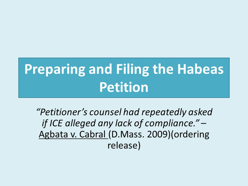 Preparing and Filing the Habeas Petition