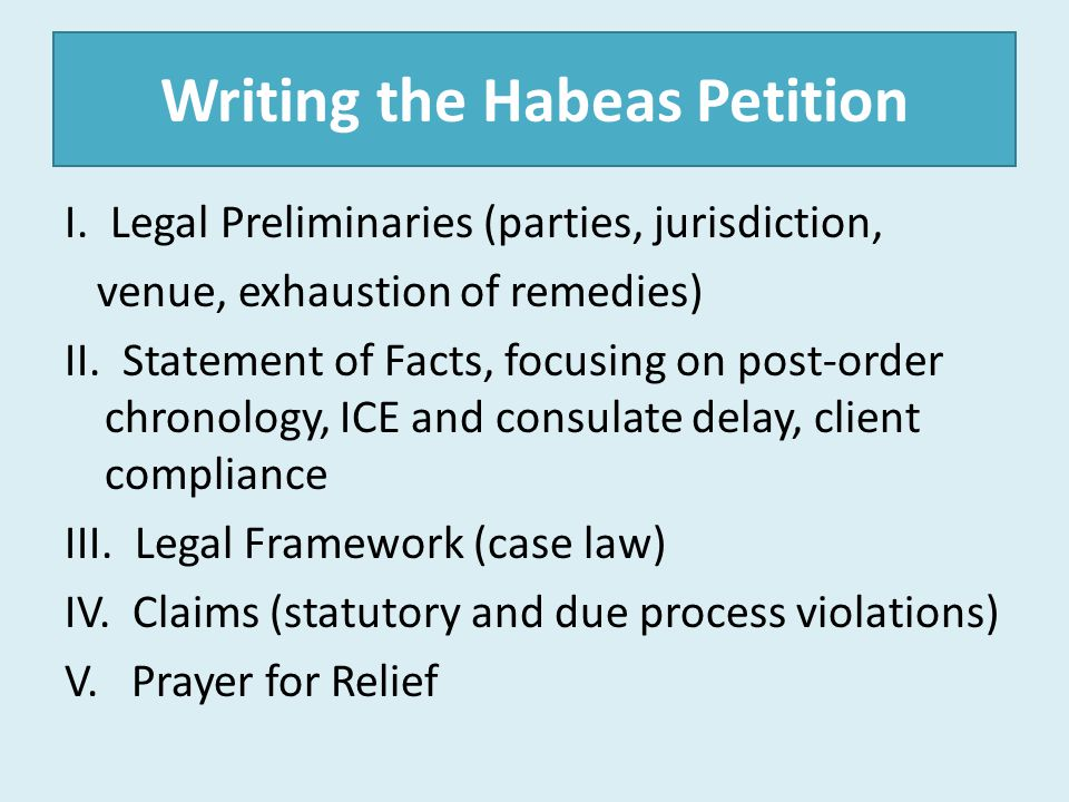 Writing the Habeas Petition