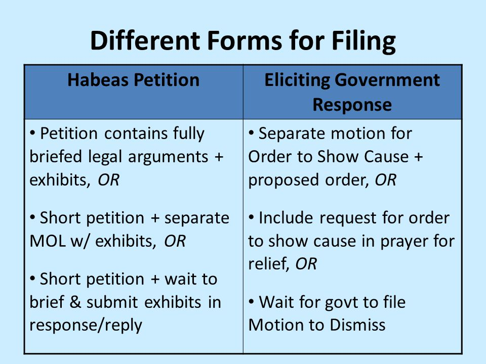 Different Forms for Filing Eliciting Government Response