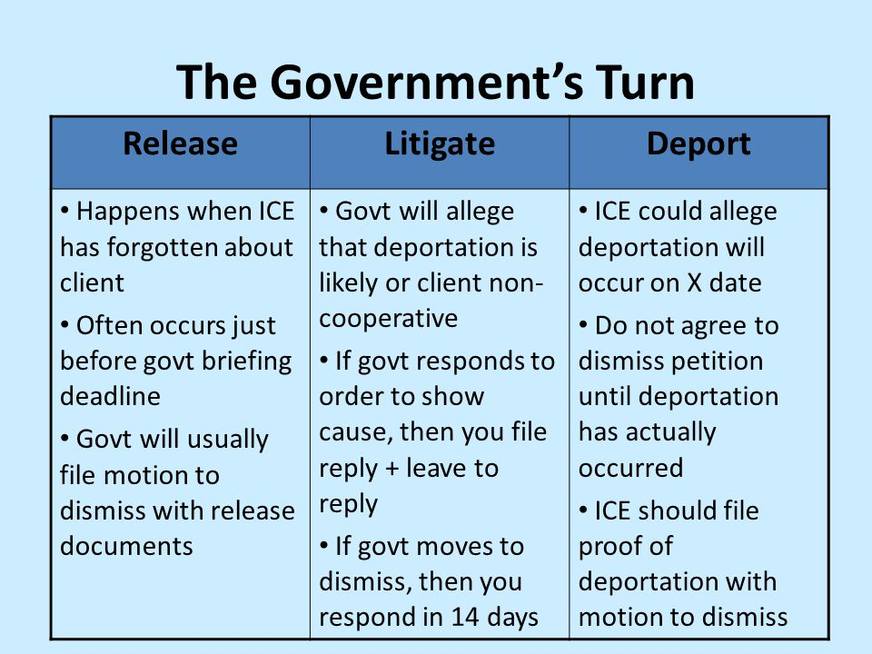 The Government's Turn Release Litigate Deport