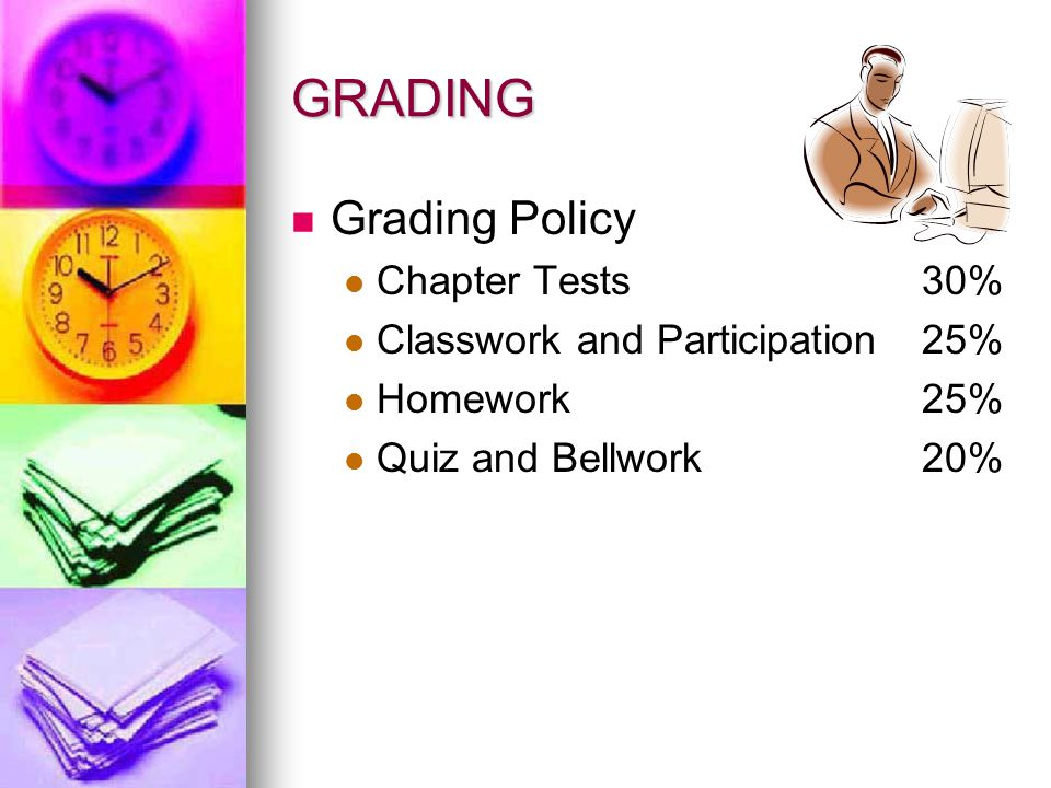 GRADING Grading Policy Chapter Tests 30%