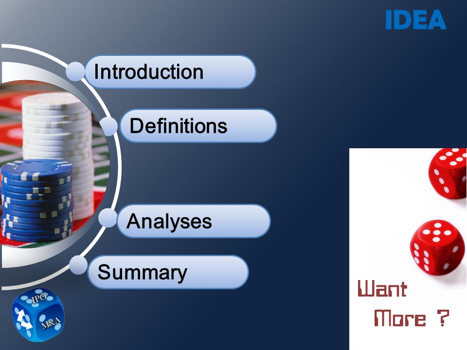 Introduction Definitions Analyses Summary