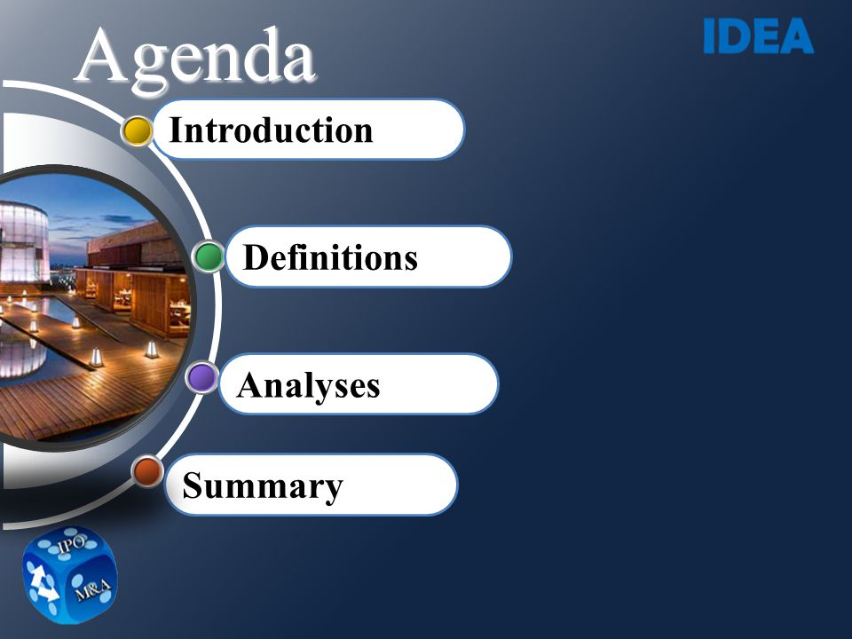 Agenda Introduction Definitions Analyses Summary