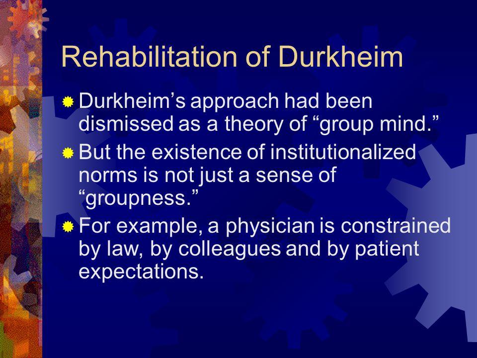 Rehabilitation of Durkheim