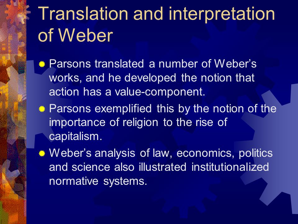 Translation and interpretation of Weber
