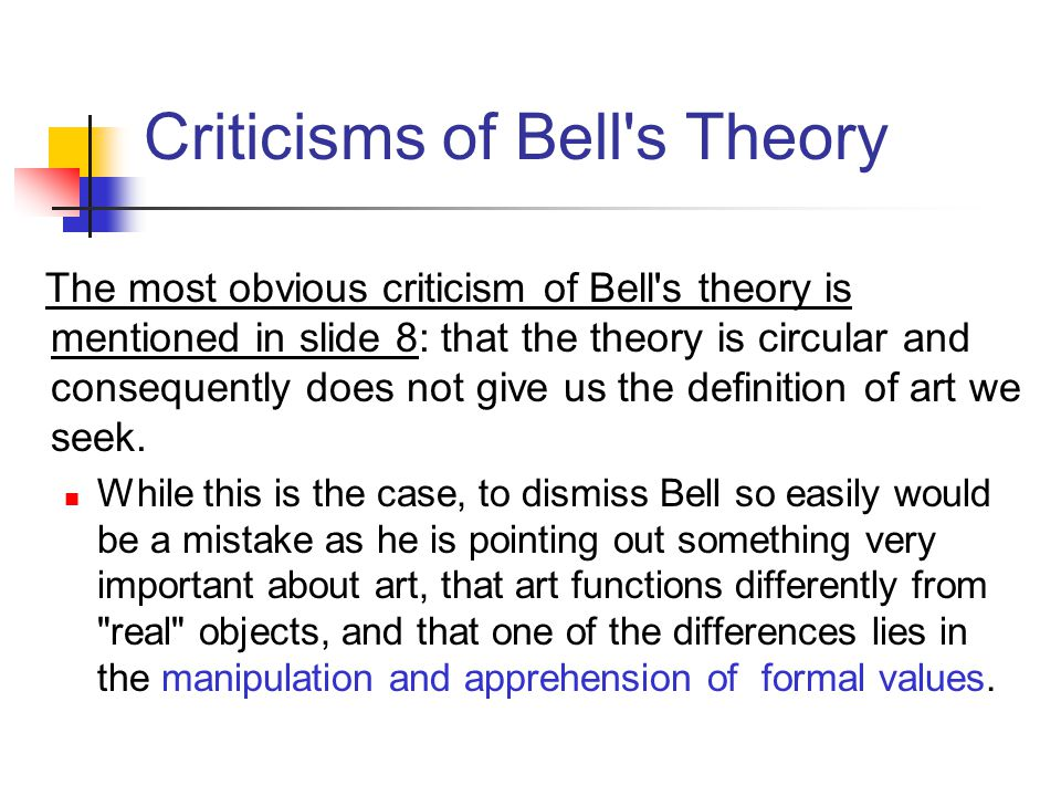 Criticisms of Bell s Theory