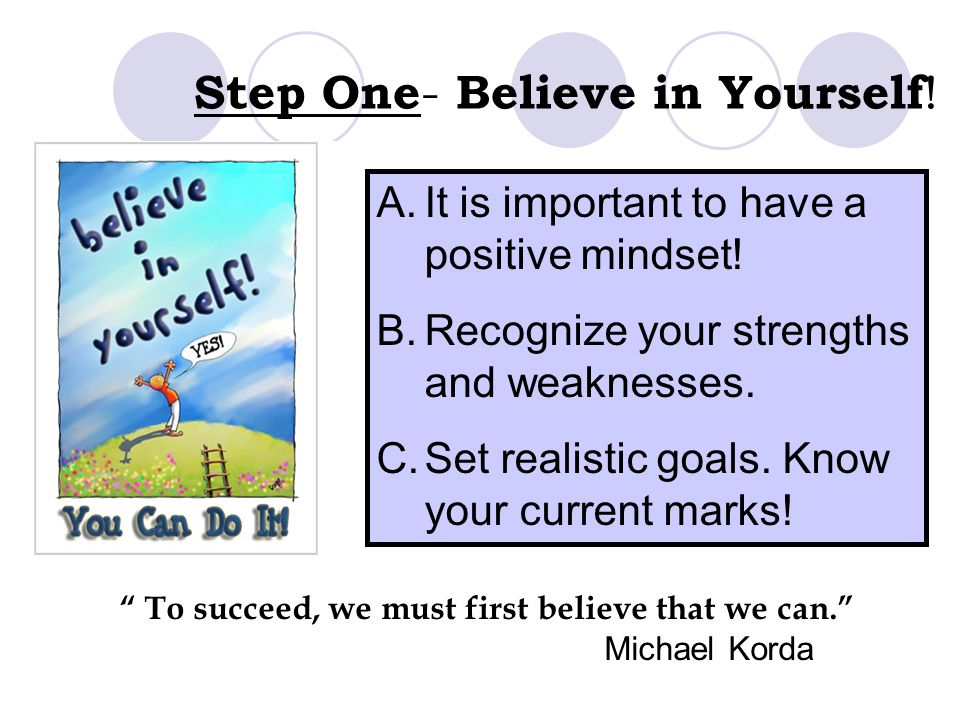 To succeed, we must first believe that we can. Michael Korda