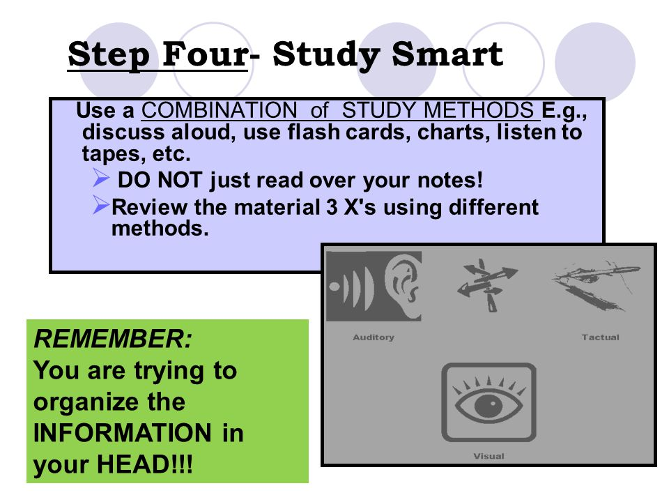 Step Four- Study Smart REMEMBER: