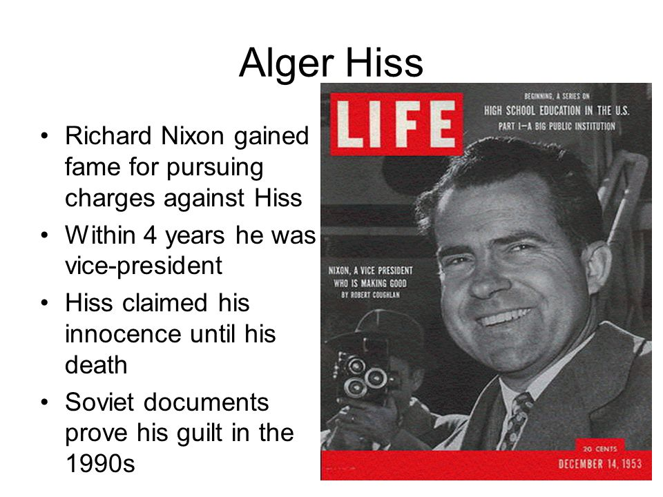 Alger Hiss Richard Nixon gained fame for pursuing charges against Hiss