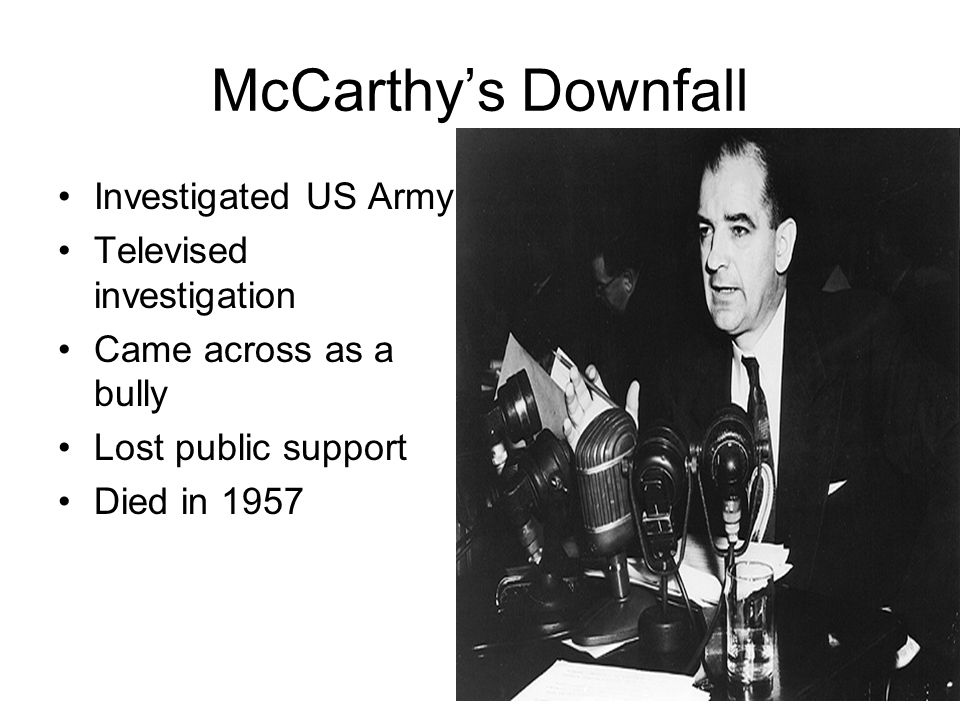 McCarthy's Downfall Investigated US Army Televised investigation