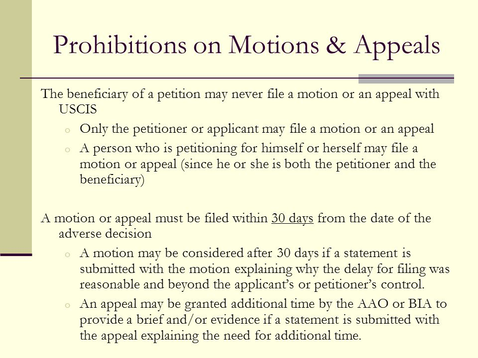 Prohibitions on Motions & Appeals