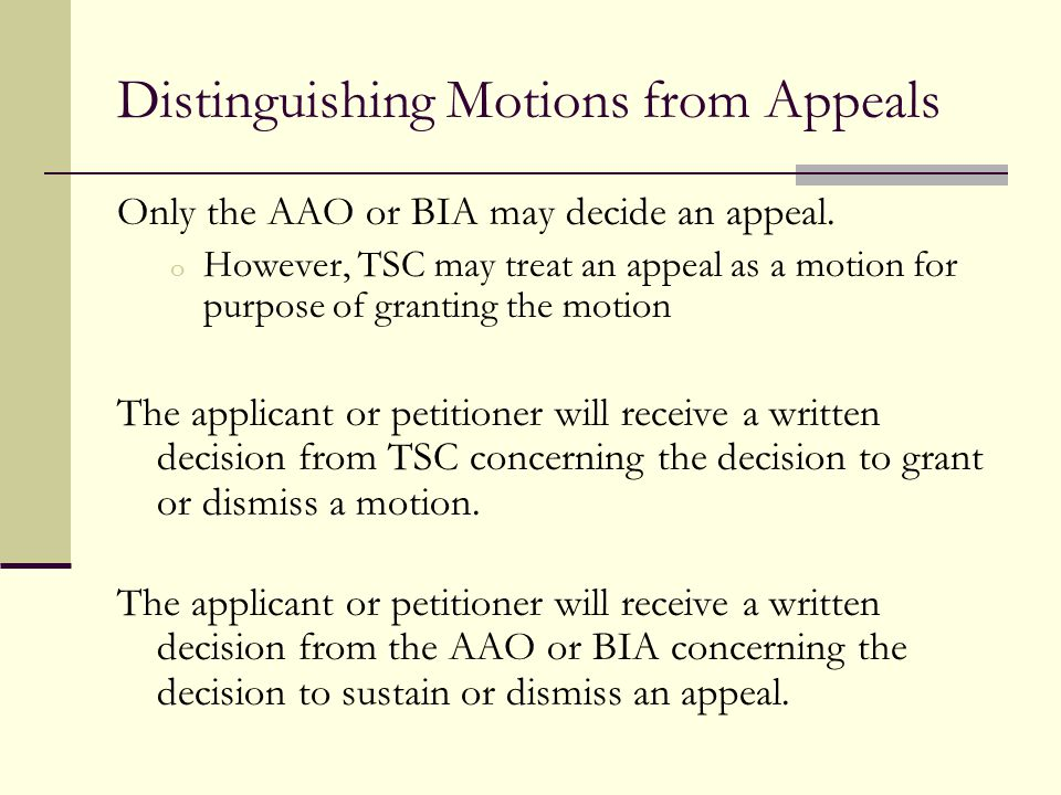Distinguishing Motions from Appeals
