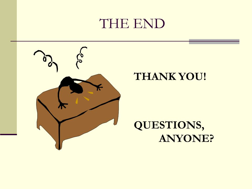 THE END THANK YOU! QUESTIONS, ANYONE