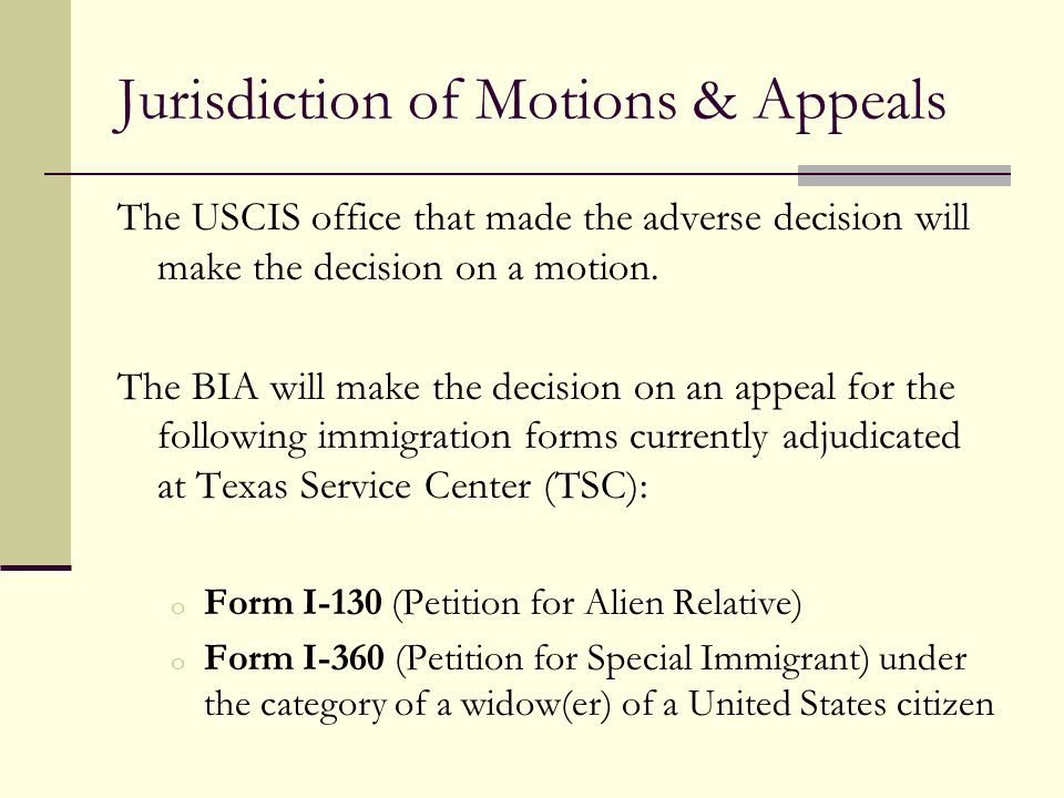 Jurisdiction of Motions & Appeals