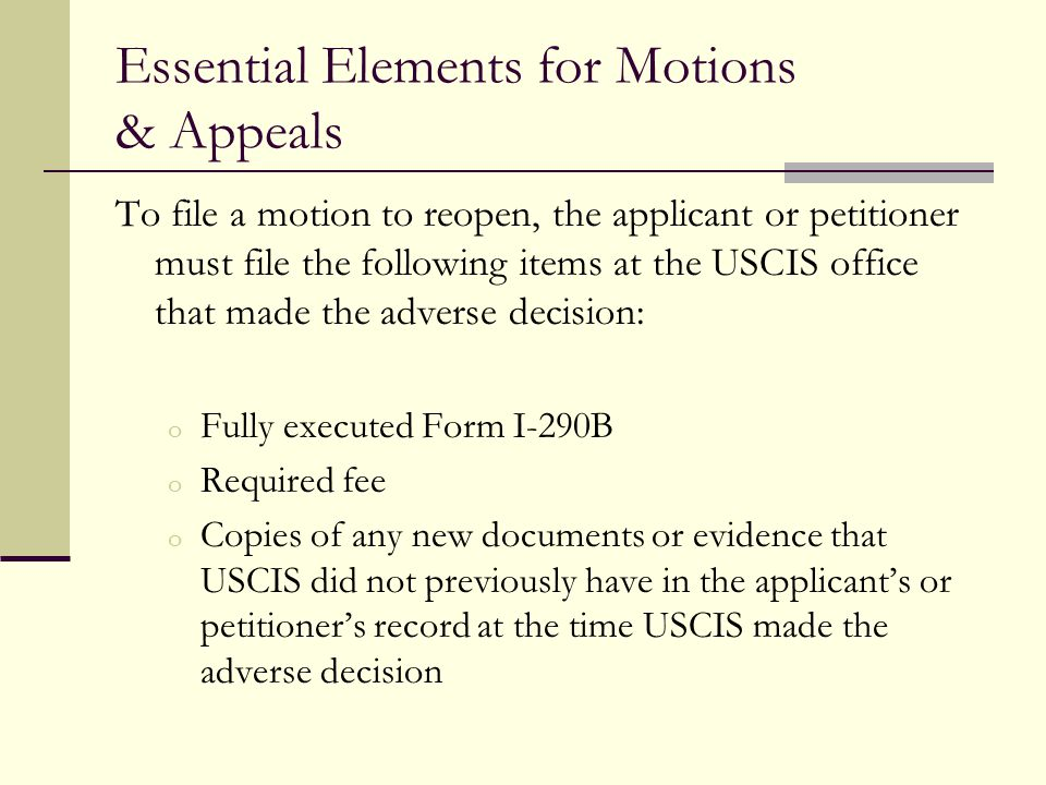 Essential Elements for Motions & Appeals