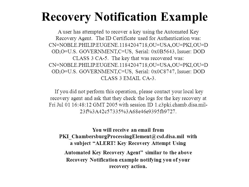 Recovery Notification Example
