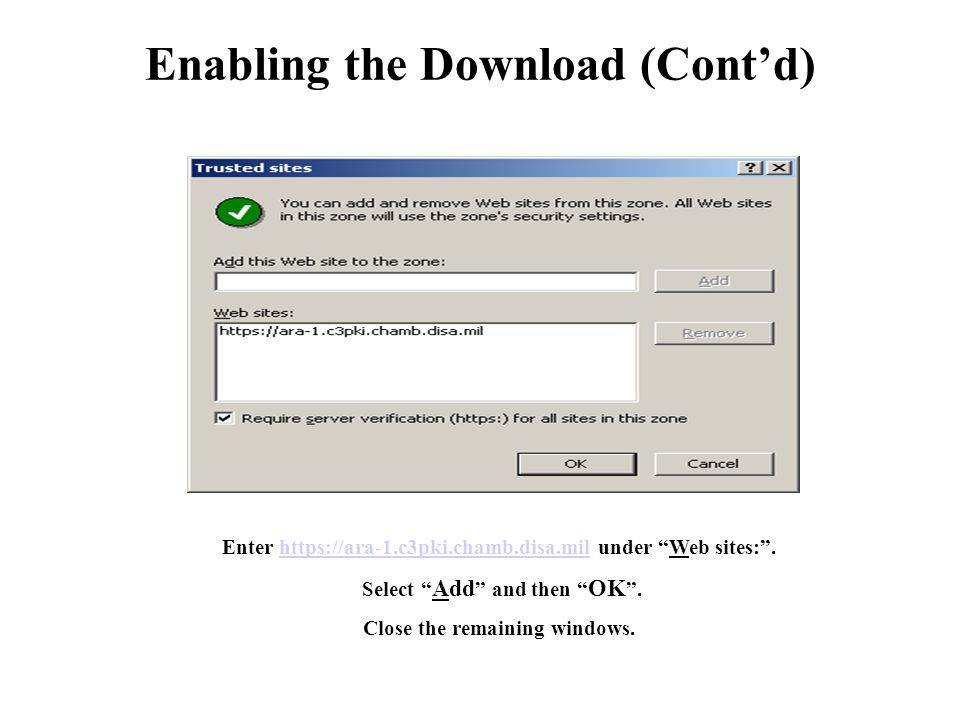 Enabling the Download (Cont'd)