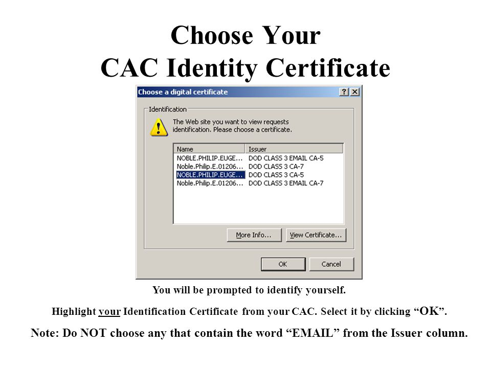 Choose Your CAC Identity Certificate
