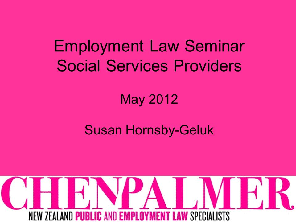Employment Law Seminar Social Services Providers May 2012