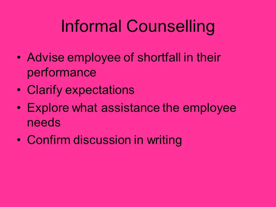 Informal Counselling Advise employee of shortfall in their performance
