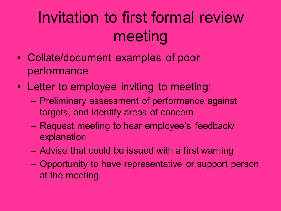 Invitation to first formal review meeting