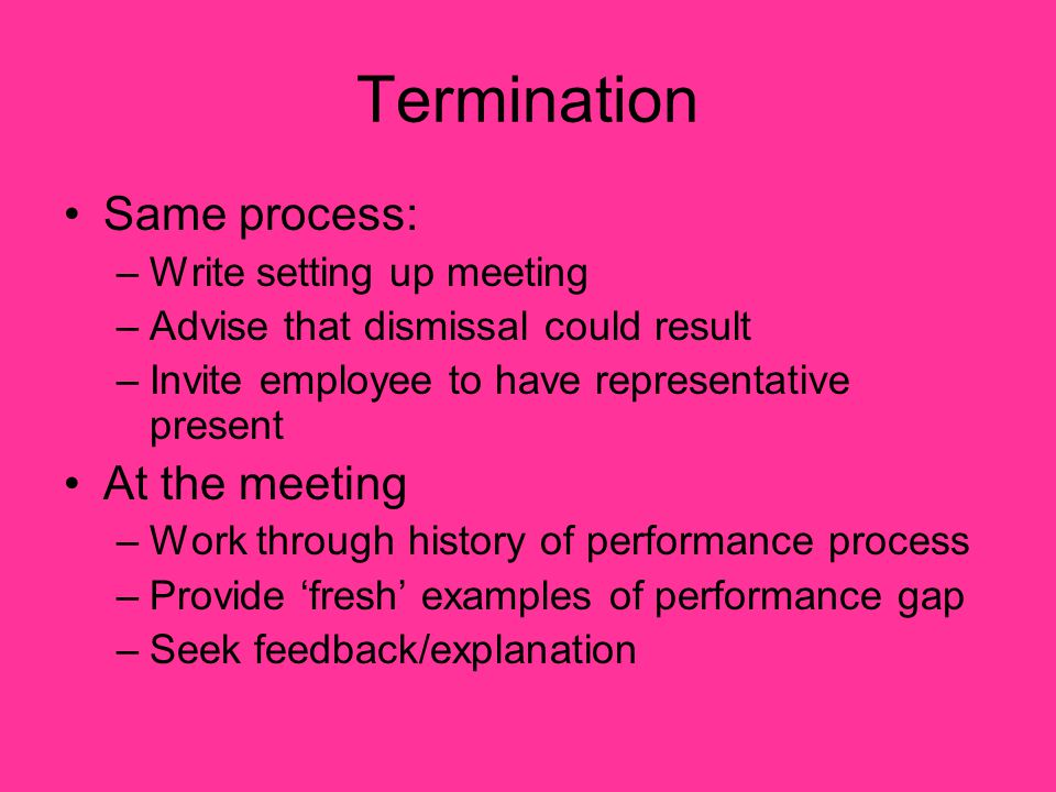 Termination Same process: At the meeting Write setting up meeting