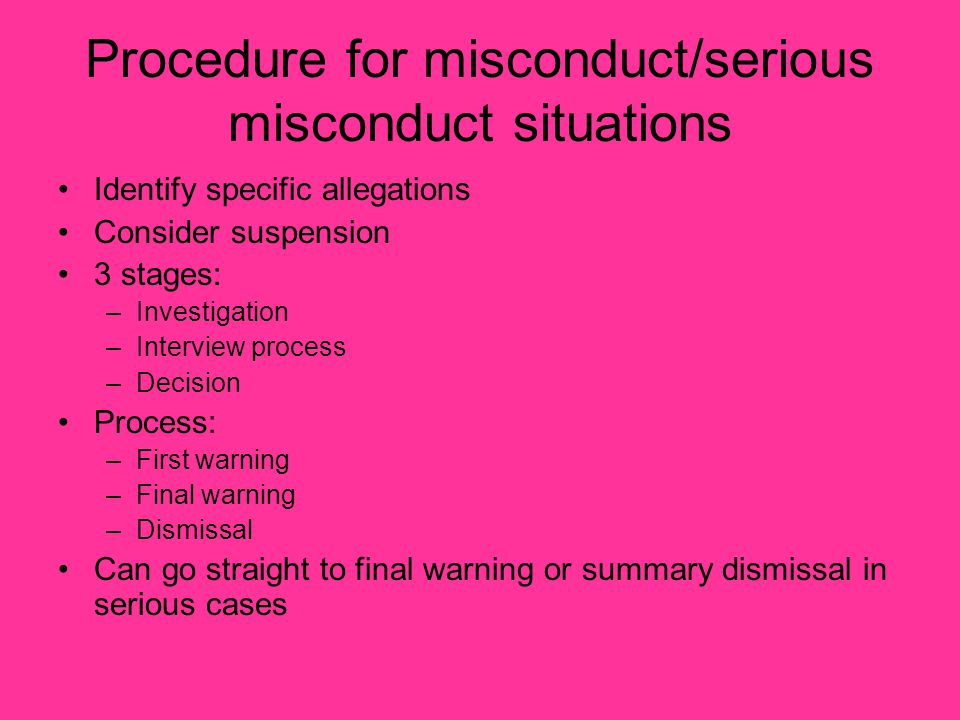 Procedure for misconduct/serious misconduct situations