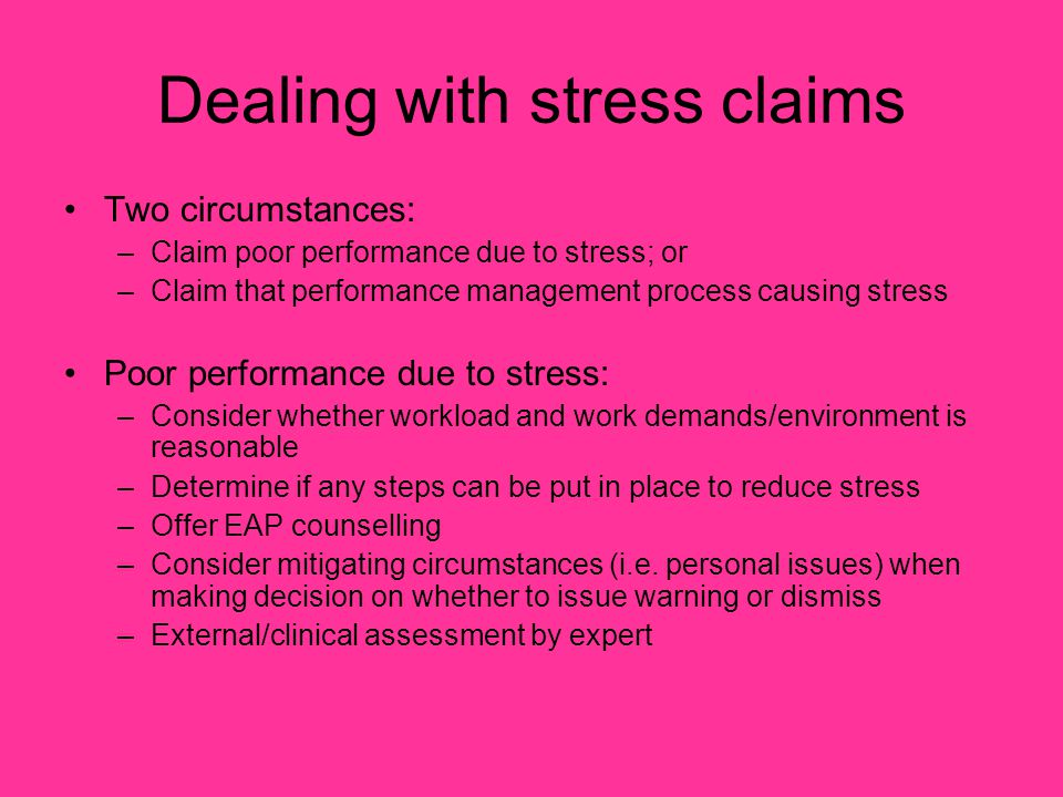 Dealing with stress claims