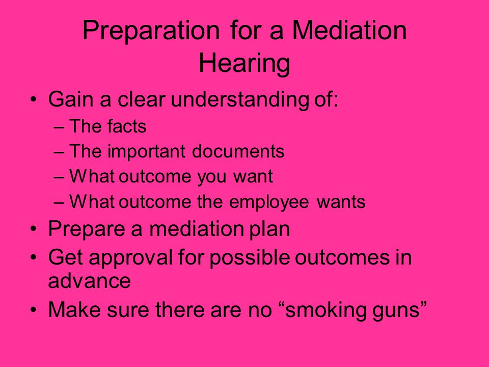 Preparation for a Mediation Hearing