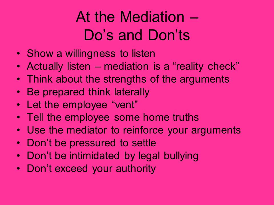 At the Mediation – Do's and Don'ts