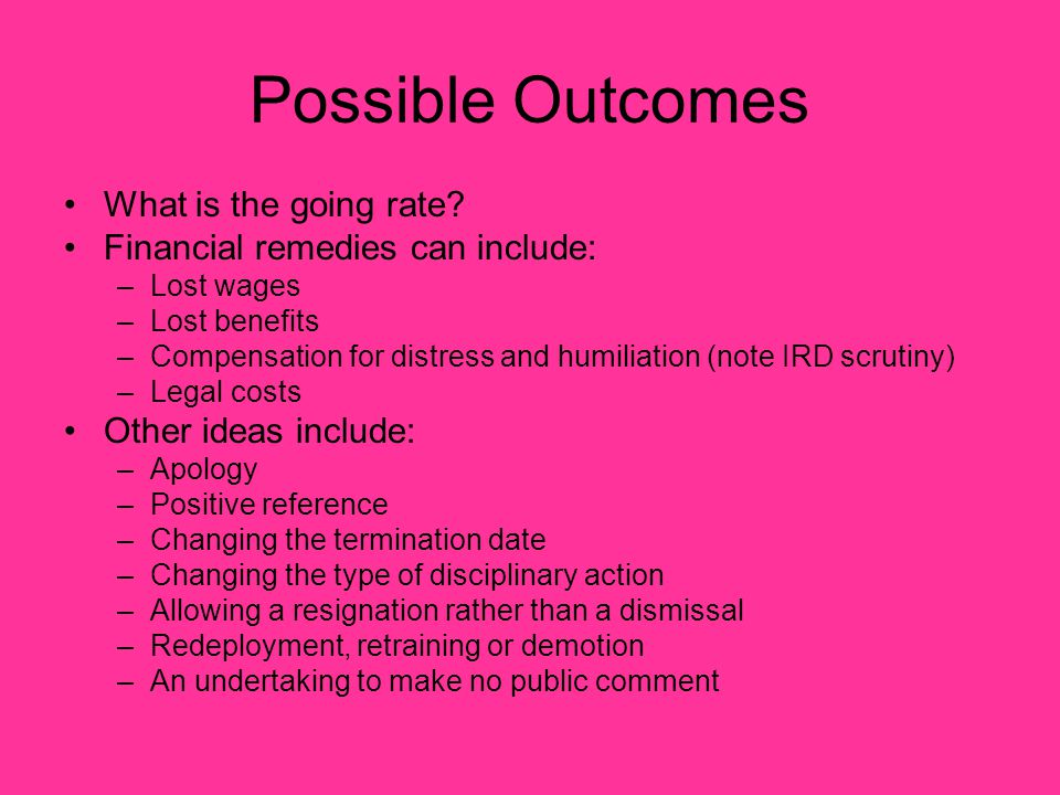 Possible Outcomes What is the going rate