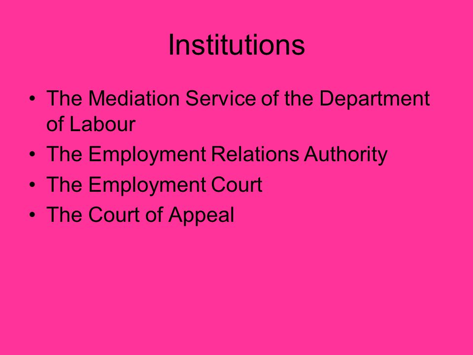 Institutions The Mediation Service of the Department of Labour