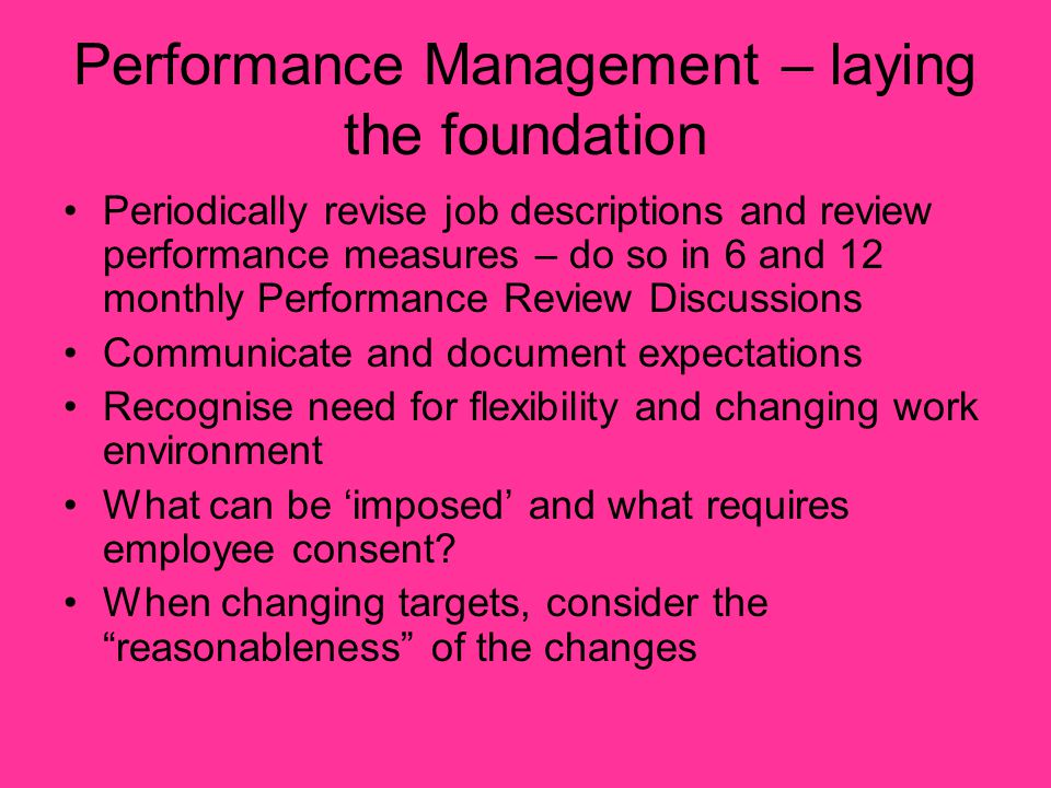 Performance Management – laying the foundation