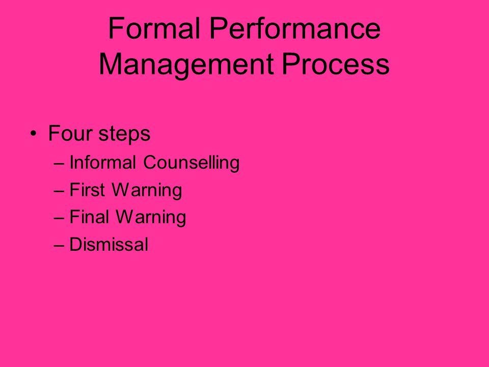 Formal Performance Management Process