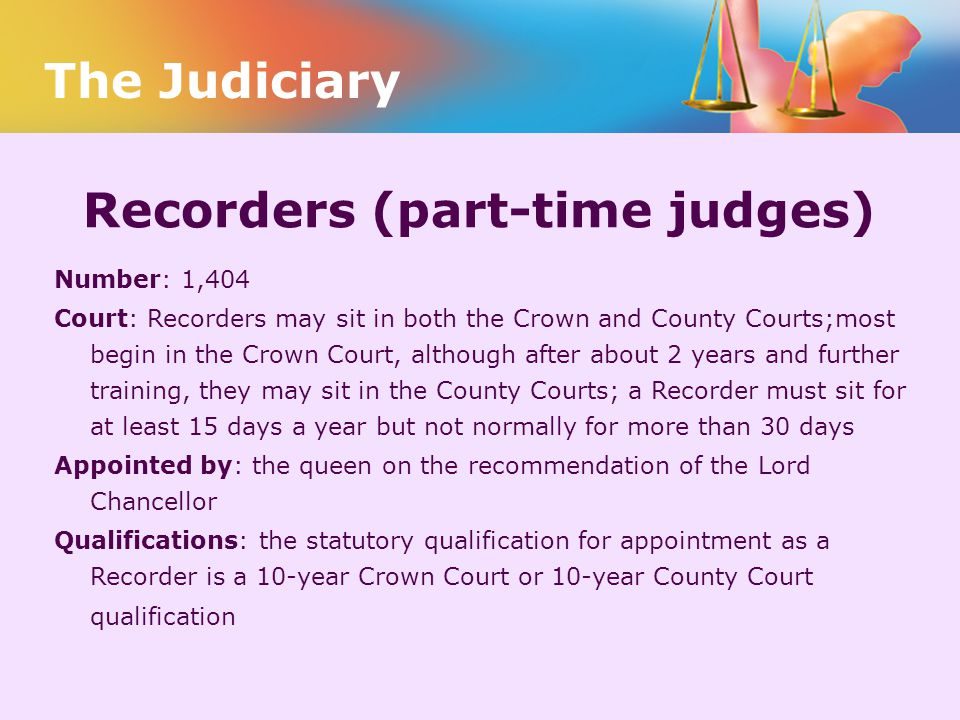 Recorders (part-time judges)