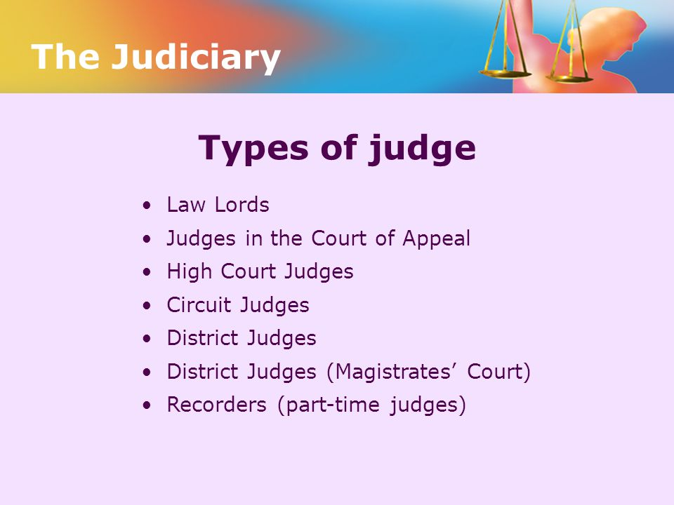 The Judiciary Types of judge Law Lords Judges in the Court of Appeal