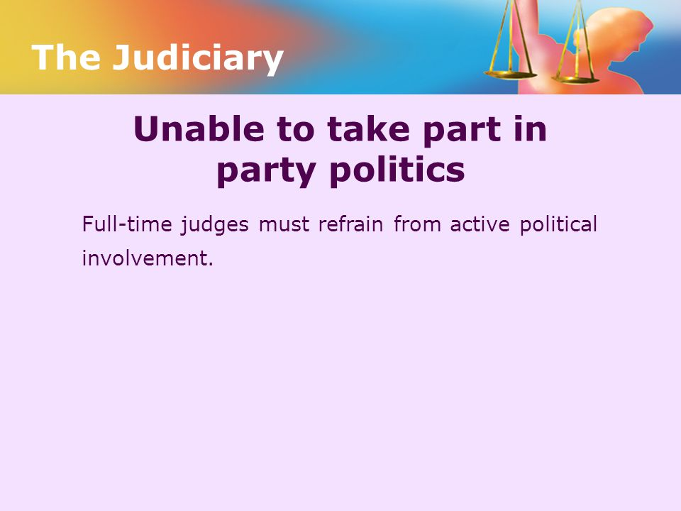 Unable to take part in party politics