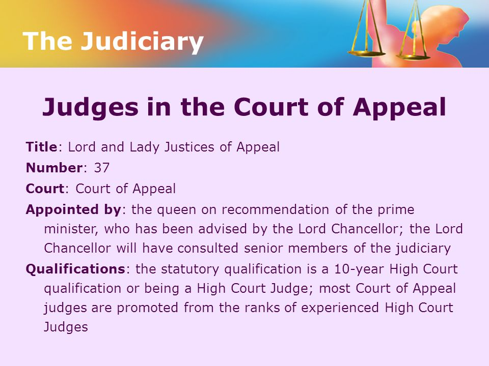 Judges in the Court of Appeal
