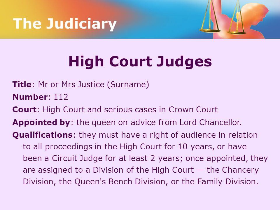 The Judiciary High Court Judges Title: Mr or Mrs Justice (Surname)