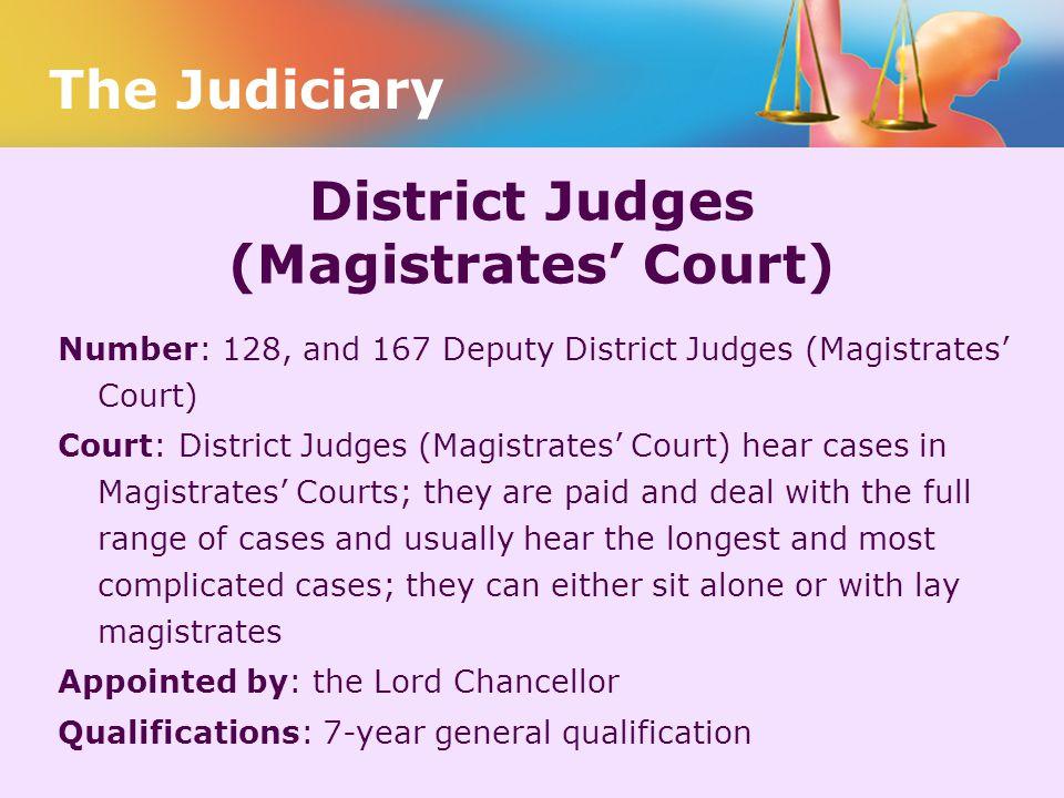 District Judges (Magistrates' Court)