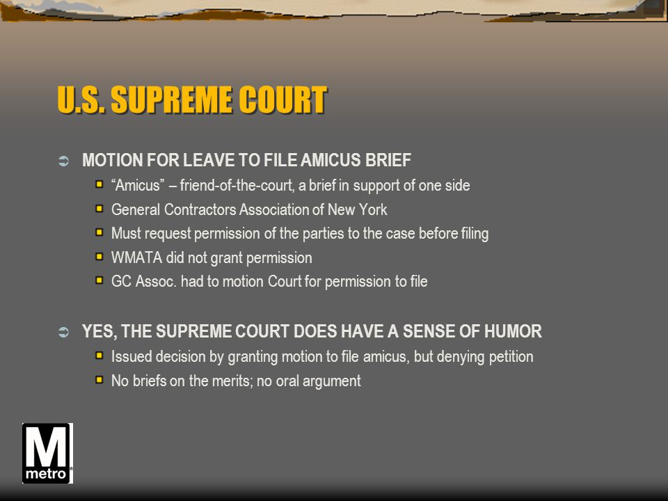 U.S. SUPREME COURT MOTION FOR LEAVE TO FILE AMICUS BRIEF