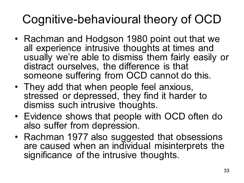 Cognitive-behavioural theory of OCD