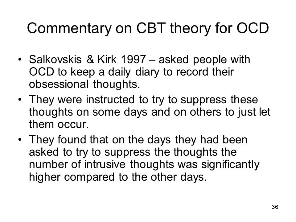 Commentary on CBT theory for OCD