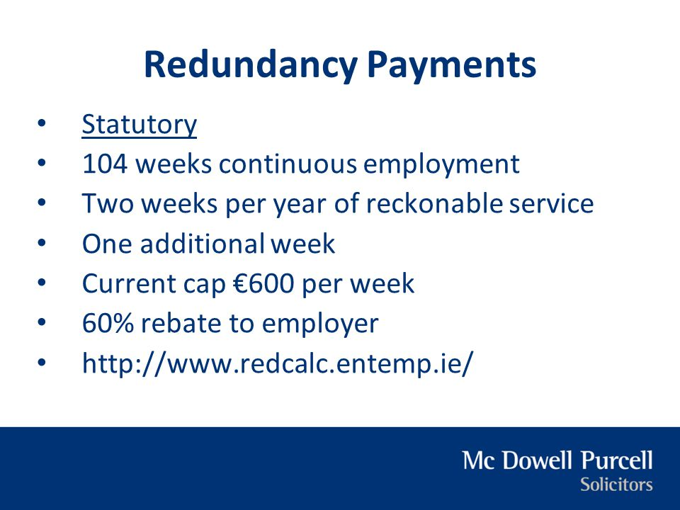 Redundancy Payments Statutory 104 weeks continuous employment
