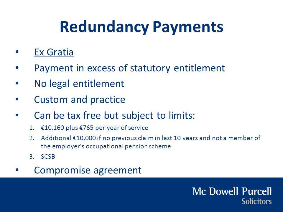 Redundancy Payments Ex Gratia